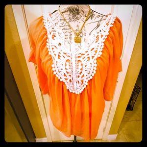 NWT Takara sunrise orange top w/cream detail L